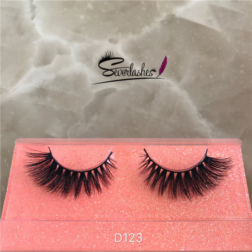 D123 Pure hand made luxury 3d mink lashes, own brand eyelashes, false eyelashes manufacturer