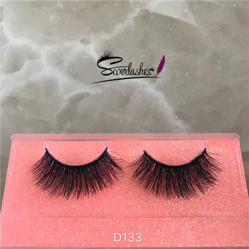 D133 3D Beauty Long Authentic 100% Mink Fur Lashes criss-cross cosmetic Eyelashes
