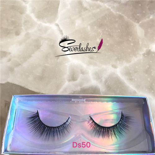 Ds50 Own Brand/OEM/Private Label Wholesale 3D 100% Mink Fur False Eyelashes Silk Lashes Packaging