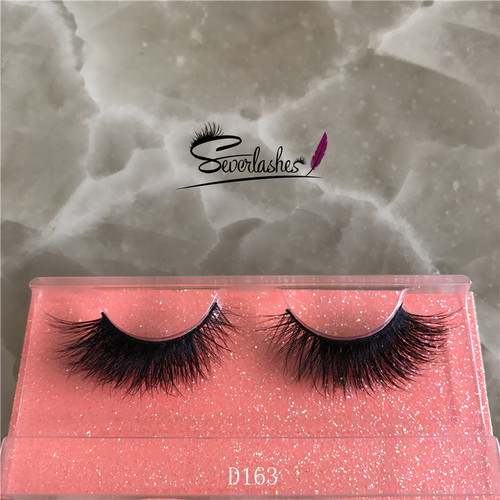D163 Real mink fur 3d mink eyelashes wholesale high quality private label Custom brand 3D mink eyela