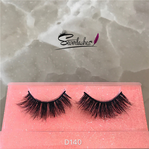 D140 Severlashes  OEM factory price own brand 100% 3d mink fur eyelashes, mink strip eyelashes