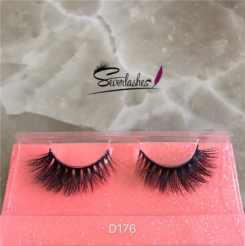 D176 Fashion Lady Siberian Fluffy 100% 3D Real Mink Fur Strip Lashes