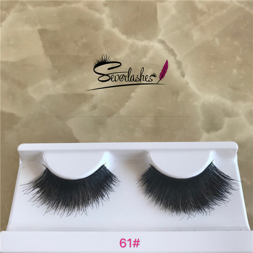 61# Factory Price Competitive Price clear band false eyelashes hand made premium lashes human hair e