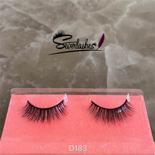 D183 3D Long cross Thick Authentic 100% Mink Fur EyeLashes stereoscopic soft for salons