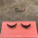 D35 Fashion Lady Siberian Fluffy 100% 3D Real Mink Fur Strip Lashes