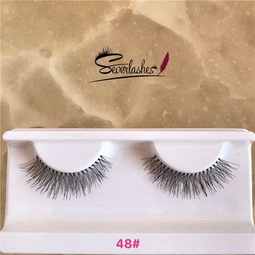 48# Faover wholesale top quality hand made thick long lashes winged human hair eyelash