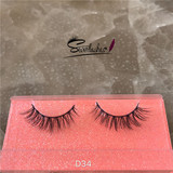 D34  Fashion Lady Siberian Fluffy 100% 3D Real Mink Fur Strip Lashes