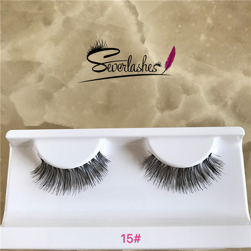 15# Wholesale natural fashion human hair false eyelashes eye lashes