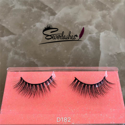 D182 100%mink fur lash 3D natural wink eyelash for women makeup