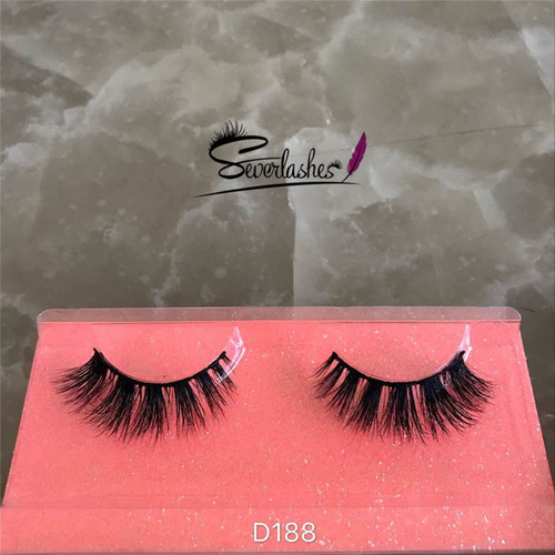 D188 3D Long cross Thick Authentic 100% Mink Fur EyeLashes stereoscopic soft criss-cross for Lady