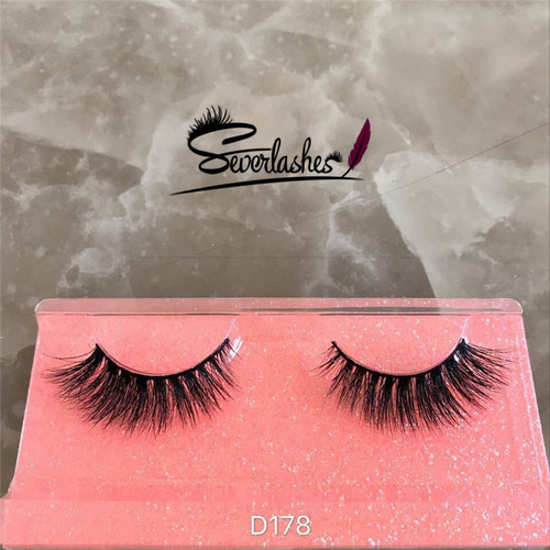 D178 100% Mink hair Luxurious 3D Natural Thick double-layer wispy wink False Eyelashes
