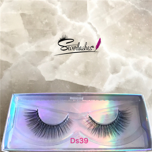 Ds39 Natural False Eyelash  Hand-made Private Label Mink Eyelashes 3D Silk Lashes