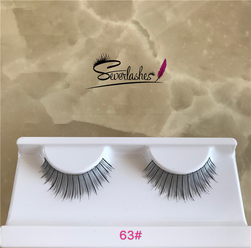 63# Factory Price Competitive Price clear band false eyelashes hand made premium lashes human hair e