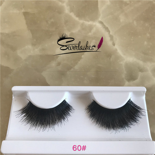 60# Factory Price Competitive Price clear band false eyelashes hand made premium lashes human hair e