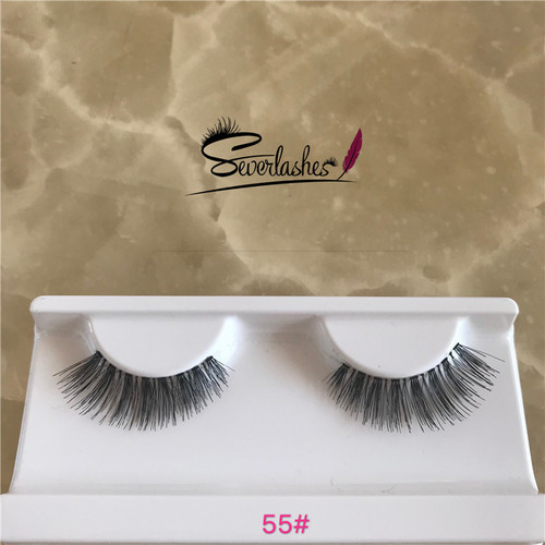 55# High quality custom made human hair eyelashes wholesale